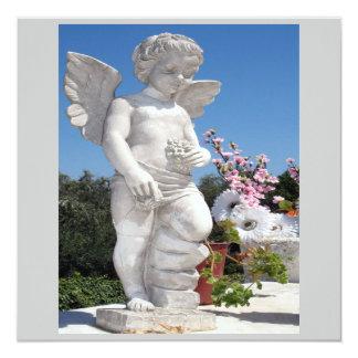Engels-Statue in Grau VI Quadratische 13,3 Cm Einladungskarte