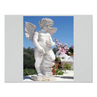 Engels-Statue in Grauem und in Weiß II 10,8 X 14 Cm Einladungskarte