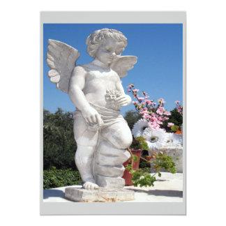 Engels-Statue in Grauem und in weißem 12,7 X 17,8 Cm Einladungskarte