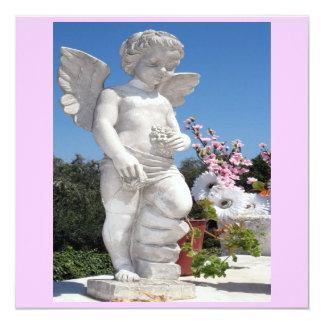 Engels-Statue in rosa und in Weiß VI Quadratische 13,3 Cm Einladungskarte