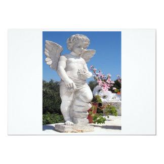 Engels-Statue in weißem und in Grau I 12,7 X 17,8 Cm Einladungskarte
