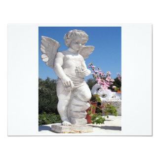 Engels-Statue in weißem und in Grau II 10,8 X 14 Cm Einladungskarte
