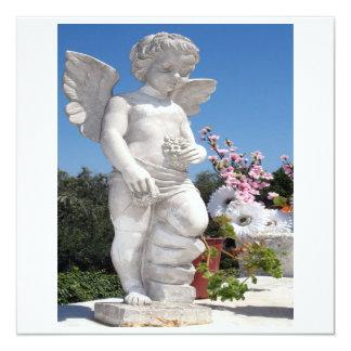 Engels-Statue in weißem und in Grau VI Quadratische 13,3 Cm Einladungskarte