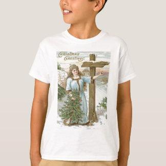 Engels-Weihnachtsbaum-Kreuz-Winter-Hütte T-Shirt