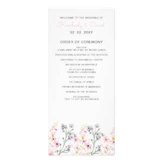 Englische Blumengarten-Hochzeits-Programme Bedruckte Werbekarte