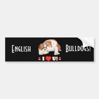 Englische Bulldogge und Shih Tzu I LIEBE SIE Autoaufkleber
