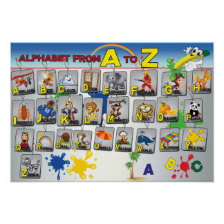 Englische Grammatik-Alphabetplakat Poster