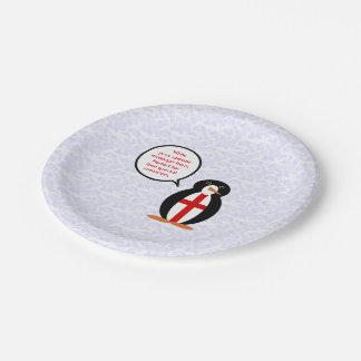 Englischer Feiertags-Herr Penguin Pappteller