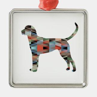 Englischer Foxhound-geometrische Quadratisches Silberfarbenes Ornament