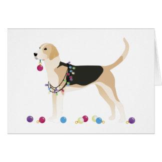 Englischer Foxhound-Silhouette-Weihnachtsentwurf Karte