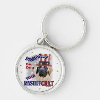 Englischer Mastiff-politischer Spaß Silberfarbener Runder Schlüsselanhänger