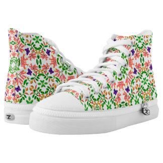 Englischer Schmetterlings-Garten-hohe Hoch-geschnittene Sneaker
