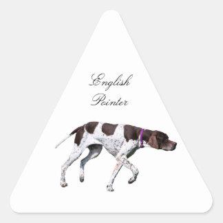 Englischer Zeigerhundeschönes Foto, Geschenk Dreieckiger Aufkleber