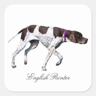 Englischer Zeigerhundeschönes Foto, Geschenk Quadrat-Aufkleber