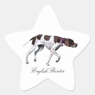 Englischer Zeigerhundeschönes Foto, Geschenk Stern Aufkleber