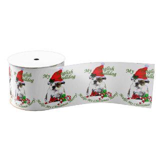 Englisches Bulldoggen-Weihnachten fröhlich Ripsband