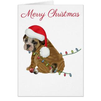 Englisches Bulldoggen-Welpen-Weihnachten Karte