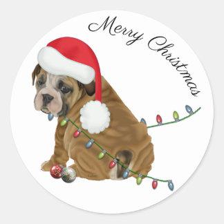 Englisches Bulldoggen-Welpen-Weihnachten Runder Aufkleber
