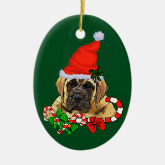 Englisches Mastiff-Weihnachten Ovales Keramik Ornament
