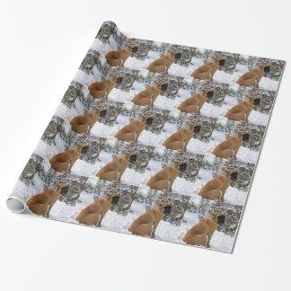 """Englisches Mastiffhund""""Schnee-Pose"""" Foto Einpackpapier"""