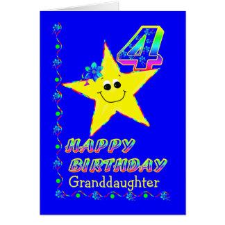 Enkelin-4. Geburtstags-Sterne Karte