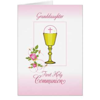 Enkelin-Rosa-erste heilige Kommunion, Chalice Karte