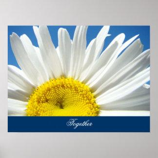 Ensemble l'art imprime la fleur de marguerite blan posters