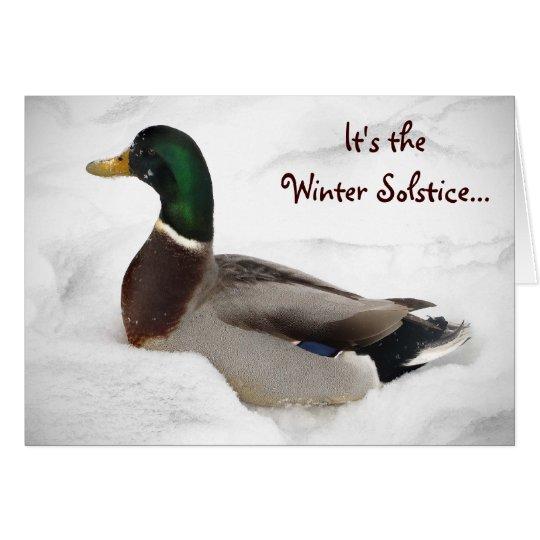 Ente in der Schnee-Winter-Sonnenwende Grußkarte