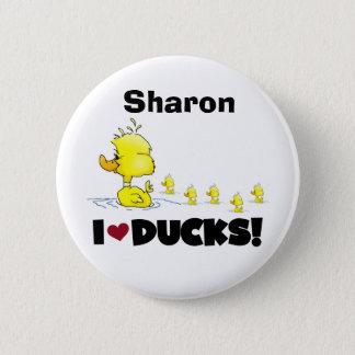 Enten Duckie gelbe Enten-Tier-KinderLiebe-Enten Runder Button 5,7 Cm