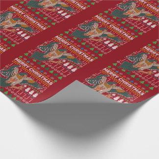 Enten-hässliche Weihnachtsstrickjacke-Tier-Reihe Geschenkpapier