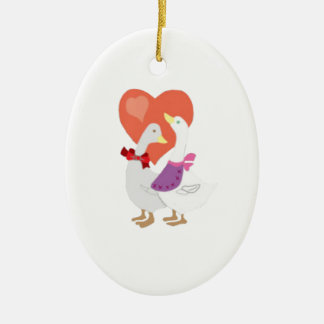 Enten in der Liebe Ovales Keramik Ornament