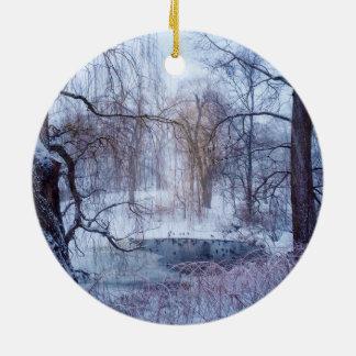 Enten in einem gefrorenen Teich in New York Keramik Ornament