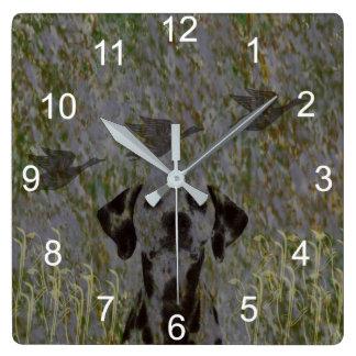 Enten-Jäger-Wanduhr Quadratische Wanduhr