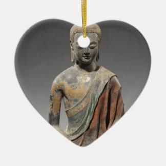 Entfärbte Buddha-Skulptur - Tang-Dynastie (618) Keramik Herz-Ornament