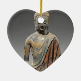 Entfärbte Buddha-Skulptur - Tang-Dynastie (618) Keramik Ornament