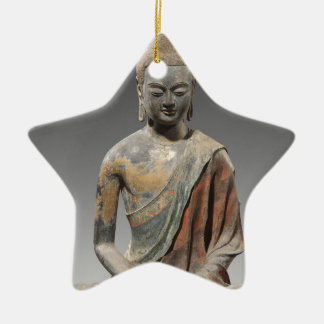 Entfärbte Buddha-Skulptur - Tang-Dynastie (618) Keramik Stern-Ornament