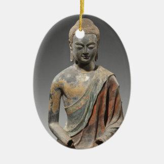 Entfärbte Buddha-Skulptur - Tang-Dynastie (618) Ovales Keramik Ornament