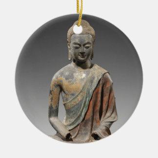 Entfärbte Buddha-Skulptur - Tang-Dynastie (618) Rundes Keramik Ornament