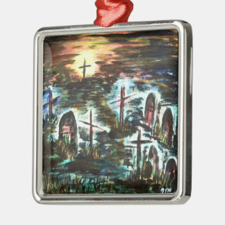 Entferntes Licht Quadratisches Silberfarbenes Ornament