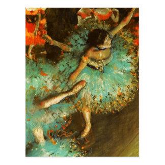 Entgasen Sie grünen Tänzer-Ballett-Impressionisten Postkarte