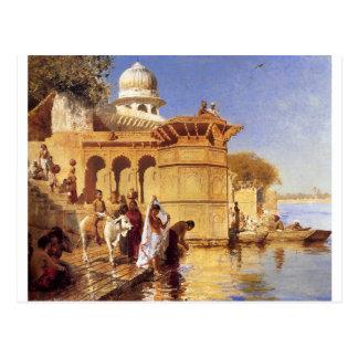 Entlang dem Ghats Mathura durch Edwin-Lord Weeks Postkarte