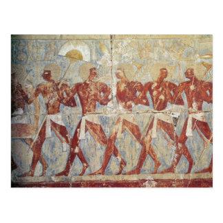 Entlastung, die Parade zu Ehren Hathor darstellt Postkarte