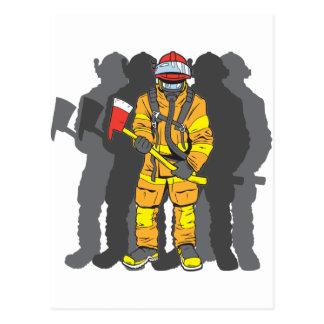 Entscheidender Feuerwehrmann Postkarte