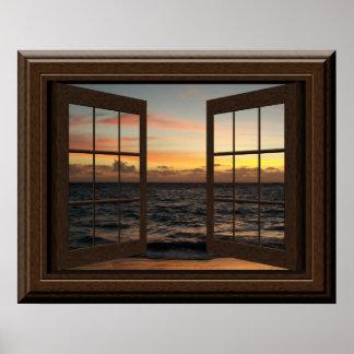 Entspannender Imitat-Fenster-Plakat-friedlicher