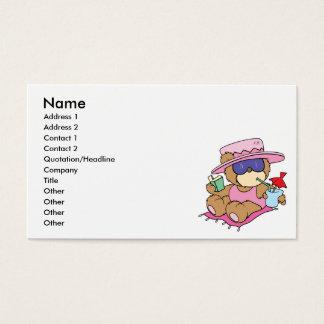 Entspannung auf Ferien-Teddybär-Mädchenentwurf Visitenkarten