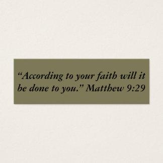 """""""Entsprechend Ihrem Glauben"""" kleine Anmerkungen Mini Visitenkarte"""