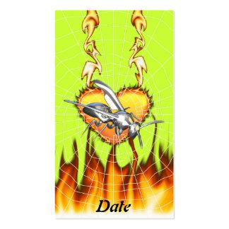 Entwurf 1 der gelben Jacke des Chroms mit Feuer Visitenkarten