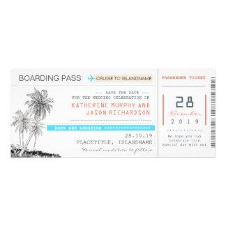 Entwurf des Flugticket-Boarding-Durchlaufs Save Personalisierte Ankündigungskarten