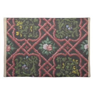 Entwurf für die Tapete, die Blumen und Gitter Tischset