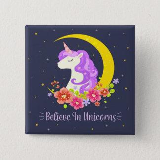 Entzückend glauben Sie an Unicorns-Button-Knopf Quadratischer Button 5,1 Cm